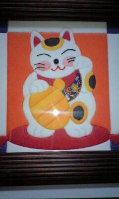 和紙あとり絵☆招き猫☆